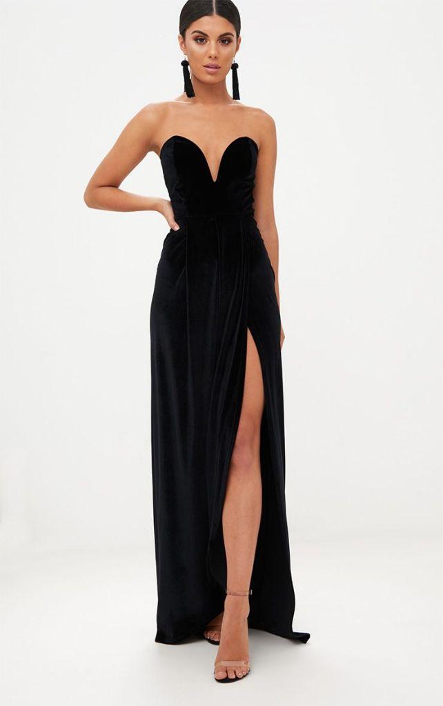 longue robe noir en velours tenue de fêtes