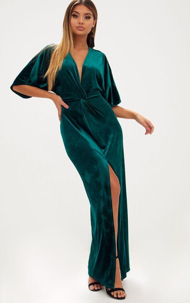 robe longue velours vert tenue de fêtes