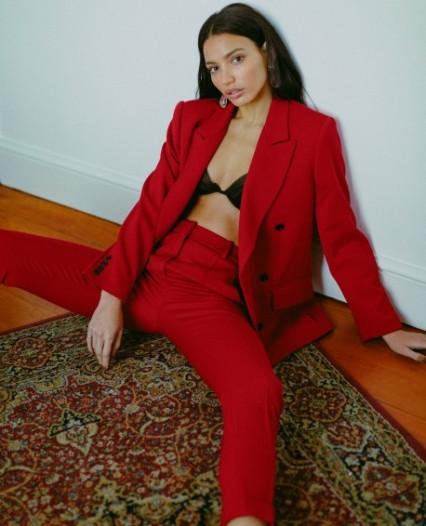 pantalon tailleur rouge