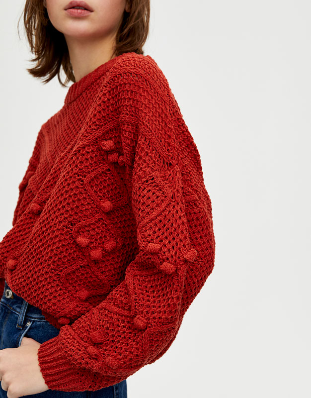 pull maille rouge